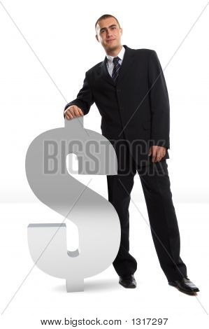 Businessman Leaning On Dollar Sign