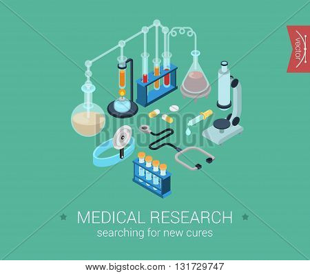 Medical research flat 3d isometric vector infographic