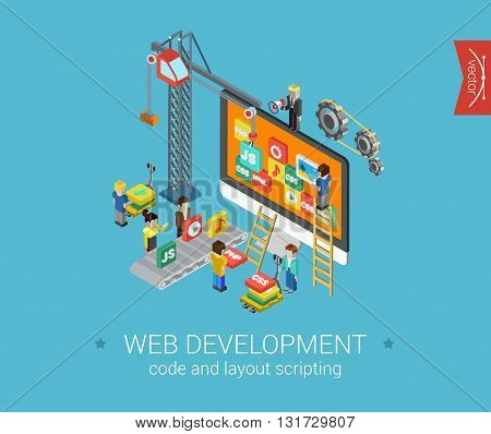 Web development php, html, js, css flat 3d isometric infographic