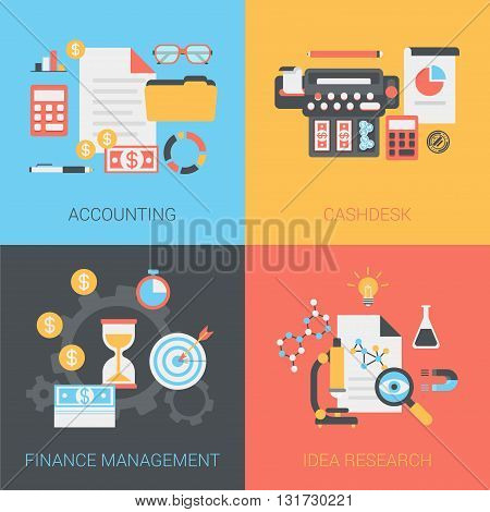 Accounting, finance management, idea flat web vector template
