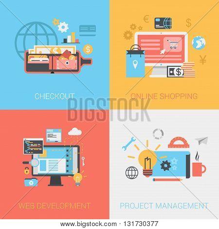 Flat checkout online shopping web develop project management set