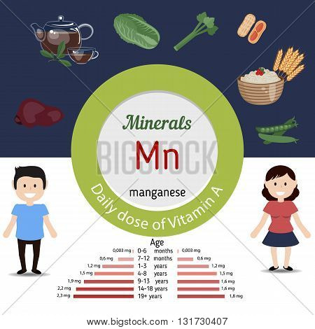 Minerals Mn and vector set of minerals Mn rich foods. Healthy lifestyle and diet concept. Manganese. Daily doze of minerals Mn.