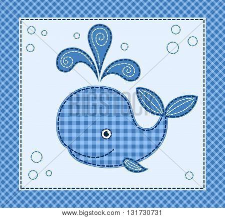 Cute cartoon little whale. Vector patchwork illustration.