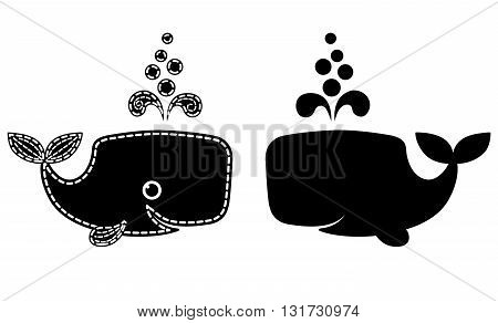 Silhouette of cute patchwork whale. Isolated on white. Vector.