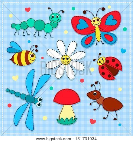 Set of cute patchwork insects for children. Vector illustration.
