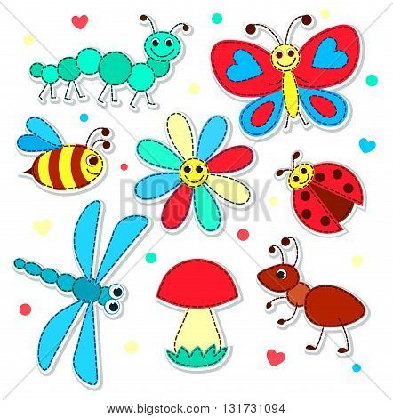 Set of cute stickers with a patchwork insects for children. Vector illustration. Isolated on white.