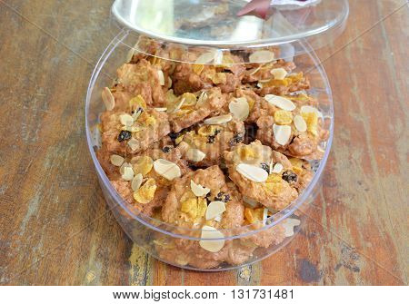 cereal cookie in plastic box on the table