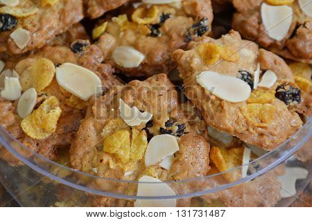 cereal cookie in clear plastic box on table