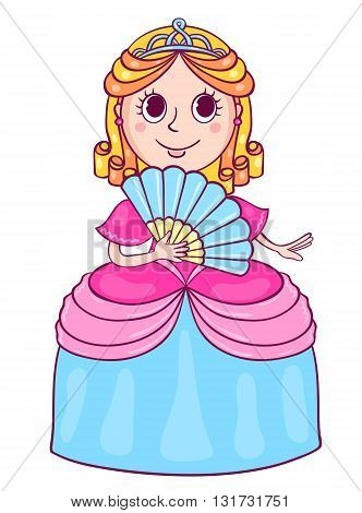 Cute little princess with a diadem. Vector cartoon illustration for children. Isolated on white.