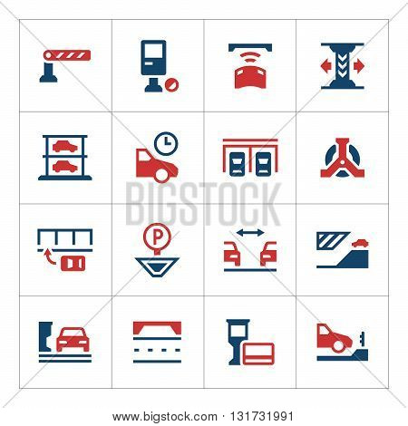 Set color icons of parking isolated on white. Vector illustration
