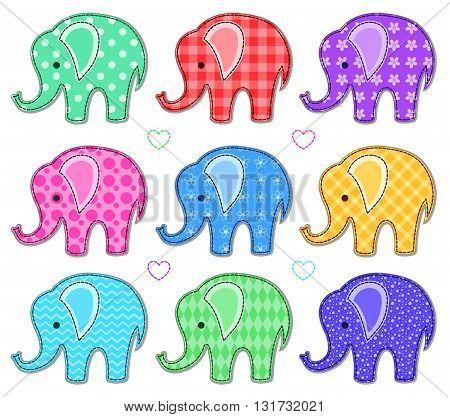 Set of nine cute color elephants. Vector cartoon illustration. Isolated on white.