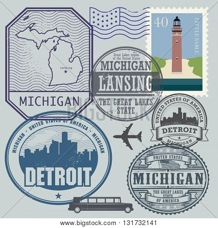 Stamp set with the name and map of Michigan, United States, vector illustration
