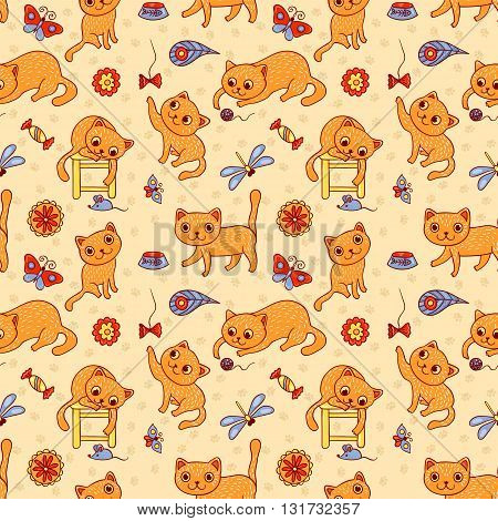 Seamless pattern with the happy playing red cats. Vector cartoon background for children.