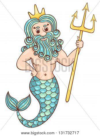 Mermaid man. Isolated on white. Children vector cartoon illustration.