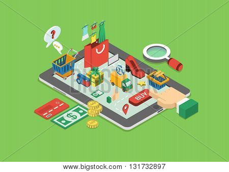 Flat 3d web isometric online shopping, sales infographic concept