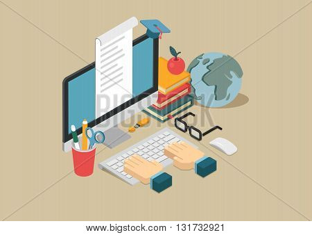 Flat 3d web isometric online education infographic concept