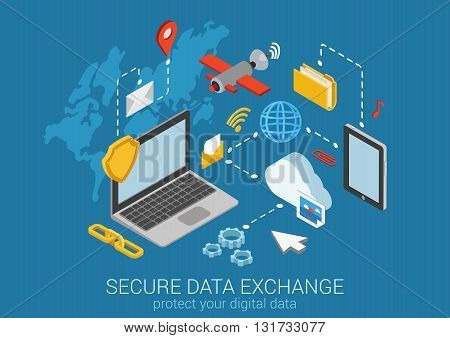 Flat 3d isometric data protection infographic concept vector
