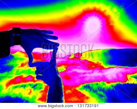 Thermography Measurement, Changed Colors Of Ultra Violet Light. Tourist Hand Makes Photo Frame And