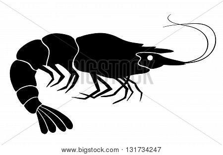 Shrimp silhouette. Black on the white. Vector illustration.