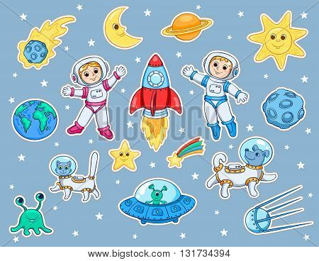 Set of stickers with space objects. Cartoon vector illustration for children.