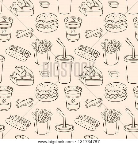 Line seamless pattern with fast food. Vector sketch background.