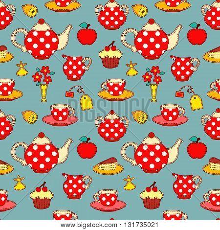 Tea drinking seamless pattern. Vector patchwork background.