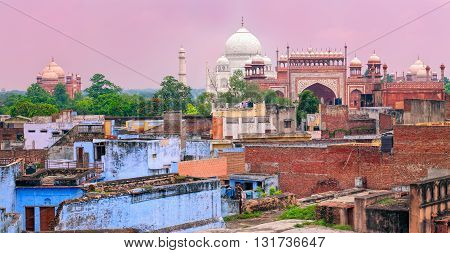 Old Town Of Agra With Taj Mahal, India