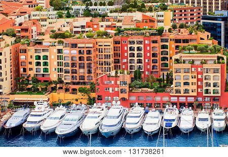 Luxury Yachts In Harbour Of Monaco, Cote D'azur, France
