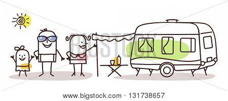 cartoon family  with a caravan