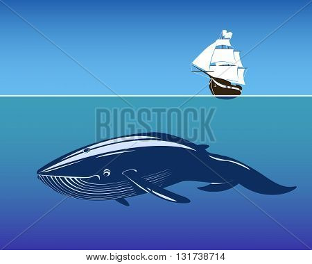 Sailing ship and huge whale in deep. Vector Illustration