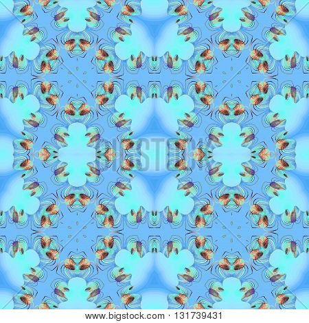 Abstract geometric seamless background. Regular circle ornaments with spiral elements in orange, brown, turquoise and blue shades.