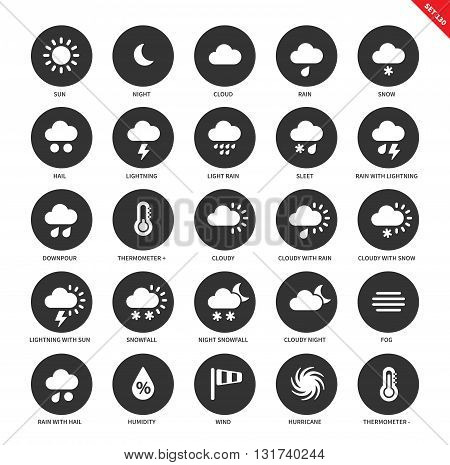 Weather forecasting vector icons set. Natural phenomenon concept, cloud, rain, snow, hail, sleet, downpuor, thermometer, snowfall, fog, wind, hurrricane. Isolated on white background