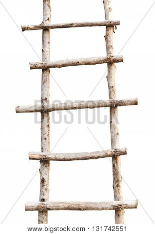 Wooden Ladder on on the construction of house isolated on white background.
