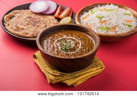 Dal Makhani or daal makhni or Daal makhani, indian lunch/dinner item served with plain rice and butter Roti, Chapati, Paratha and salad