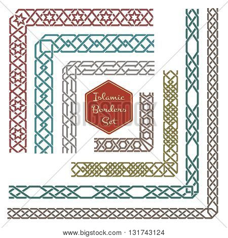 Islamic ornamental borders with corners vector. Pattern border, corner pattern ornament, decorative corner border illustration