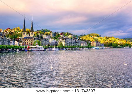 Luxury Hotels At The Waterfront Of Lake Lucerne, Lucerne Town, Switzerland