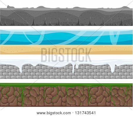 Illustration of a set of seamless grounds soils and land foreground area with ice desert beach sand roots and grass layers and patterns for ui game. Seamless grounds soils and land vector set.