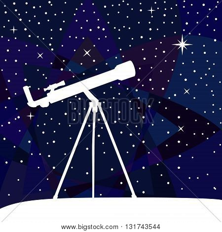Silhouette of telescope on the night sky colorful background. Vector illustration.