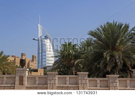DUBAI, UAE - MAY 12, 2016:  view on Burj Al Arab hotel from Souk Madinat