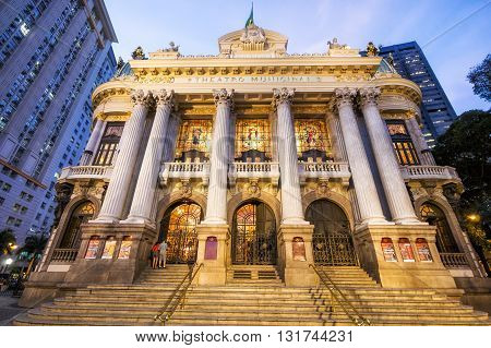 Rio de Janeiro, Brazil - October 2, 2012: View of the Theatro Municipal (Municipal Theatre) in Rio de Janeiro, Brazil, built in the beginning of the twentieth century.