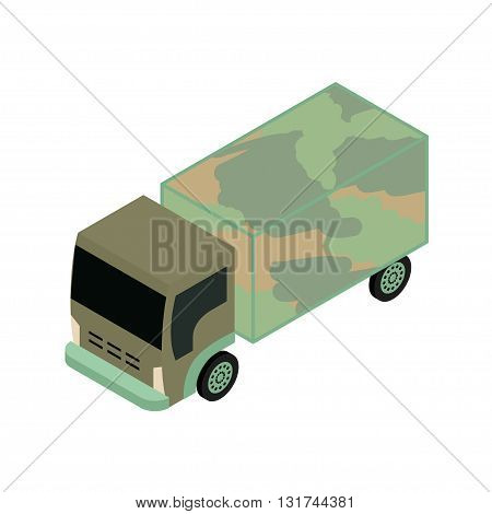 Isometric military truck icon vector illustration for infographics and game design