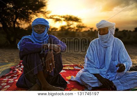 TIMBUKTU, MALI, 02-SEPTEMBER-2011. Tuaregs at dawn in the camp near the city of Timbuktu