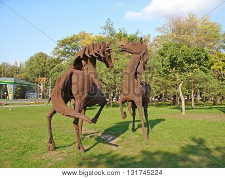 ROSTOV-ON-DON, RUSSIA - OCTOBER 12, 2008 - Iron horse sculptures in the park of the city