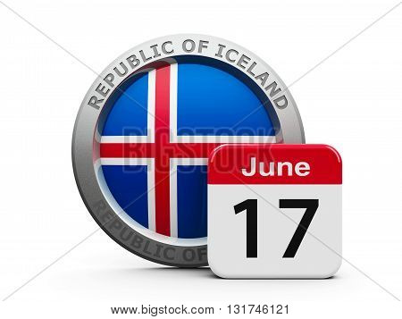 Emblem of Iceland with calendar button - The Seventeenth of June - represents the Proclamation of the Republic Iceland three-dimensional rendering 3D illustration