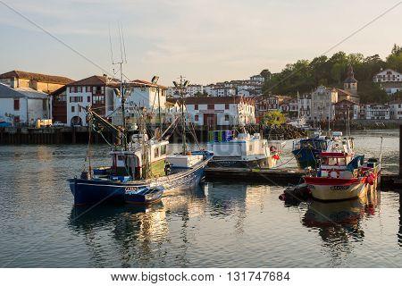 Fishing Boats In Saint-jean De Luz Harbour. Aquitaine, France.