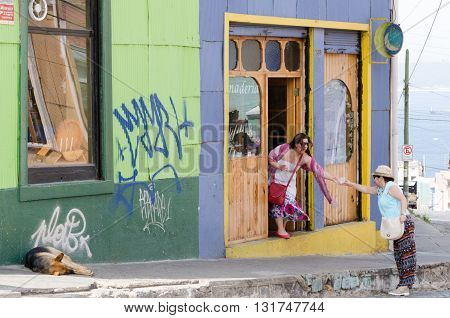 Valparaiso, Chile - November 01 2014: Frriends On The Street In The Center Of Valparaiso, Chile