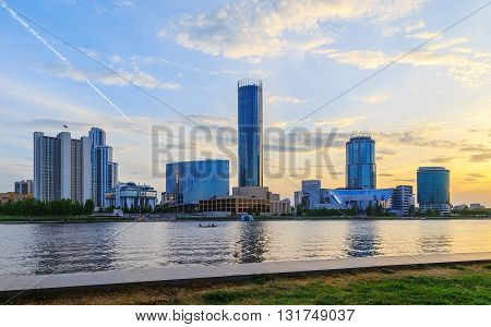 Evening on the business center of Ekaterinburg summer sky