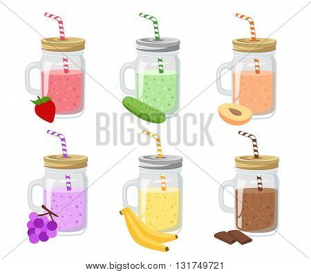 Collection of ten healthy fruit smoothies in flat style. Fresh juice for healthy life. Menu element for cafe or restaurant. Set of summer fresh smoothies in mason jar and detox water.