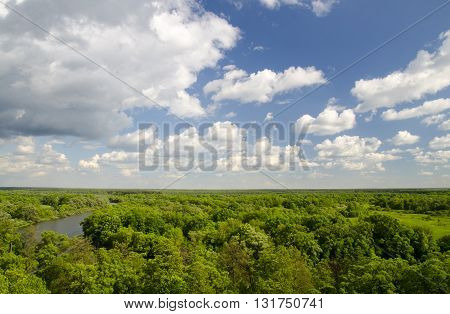 Peaceful natural atmosphere of white clouds deep blue summer sky river and green forest. Forest aerial view from helicopter