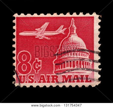 USA - CIRCA 1962: A stamp printed in USA shows jetliner over the U.S. Capitol, circa 1962;